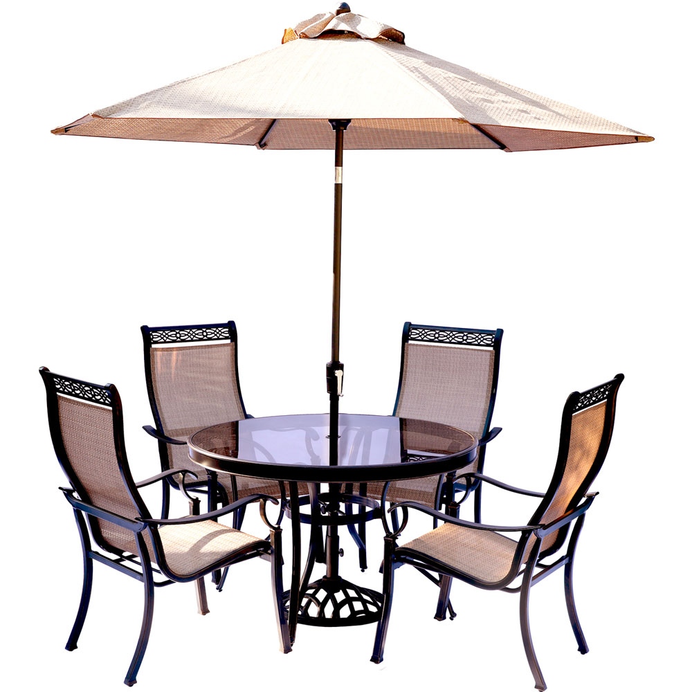 Monaco 5PC Glass Dining Set With 9 Ft. Table Umbrella And
