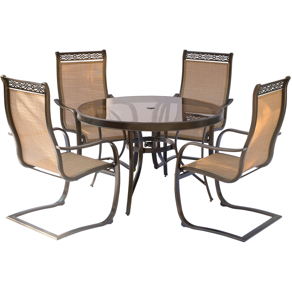 Monaco 5pc outdoor dining set with c spring chairs glass for Glass top outdoor dining table
