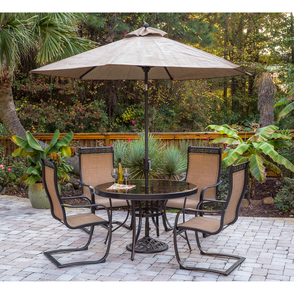 Monaco 5pc Outdoor Dining Set With C Spring Chairs Glass