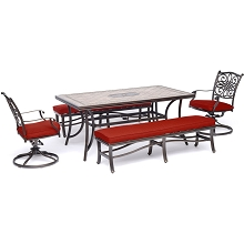 Hanover Monaco 5-Piece Patio Dining Set in Red with 2 Swivel Rockers, 2 Benches, and a 40