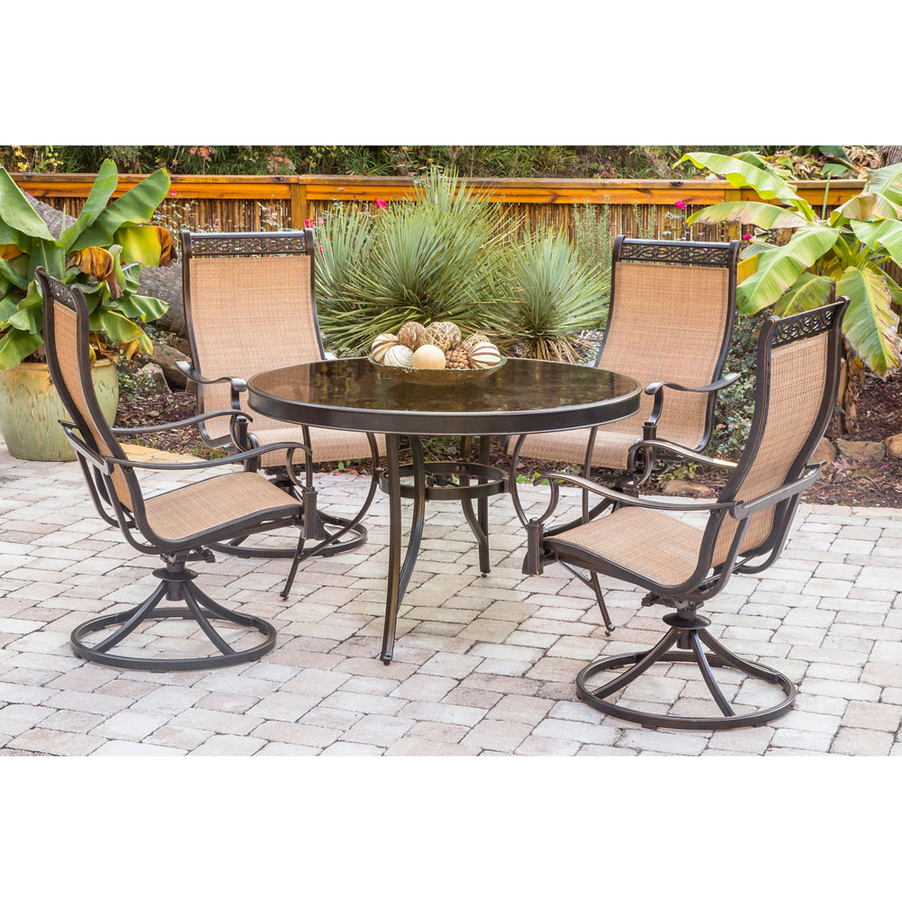 Monaco 5PC Dining Set With Swivel Sling Chairs And Glass