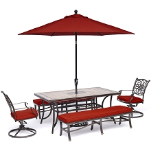 Hanover Monaco 5-Piece Patio Dining Set in Red with 2 Swivel Rockers, 2 Benches, 40