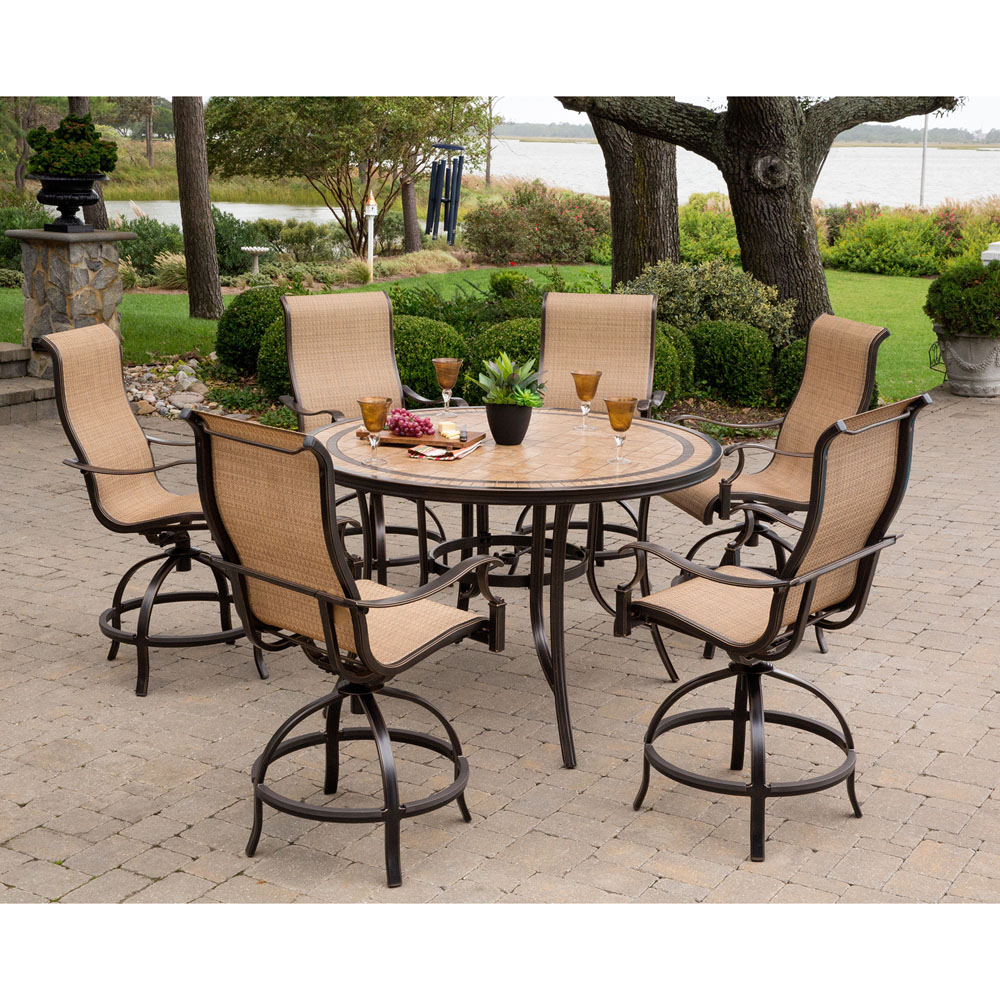 hanover monaco 7 piece high dining set with 6 contoured swivel chairs and a 56 in tile top. Black Bedroom Furniture Sets. Home Design Ideas
