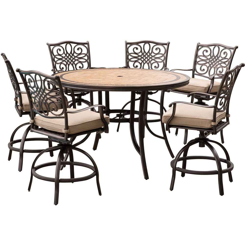 hanover monaco 7 piece high dining set in tan with a 56 in tile top table and 6 swivel chairs. Black Bedroom Furniture Sets. Home Design Ideas