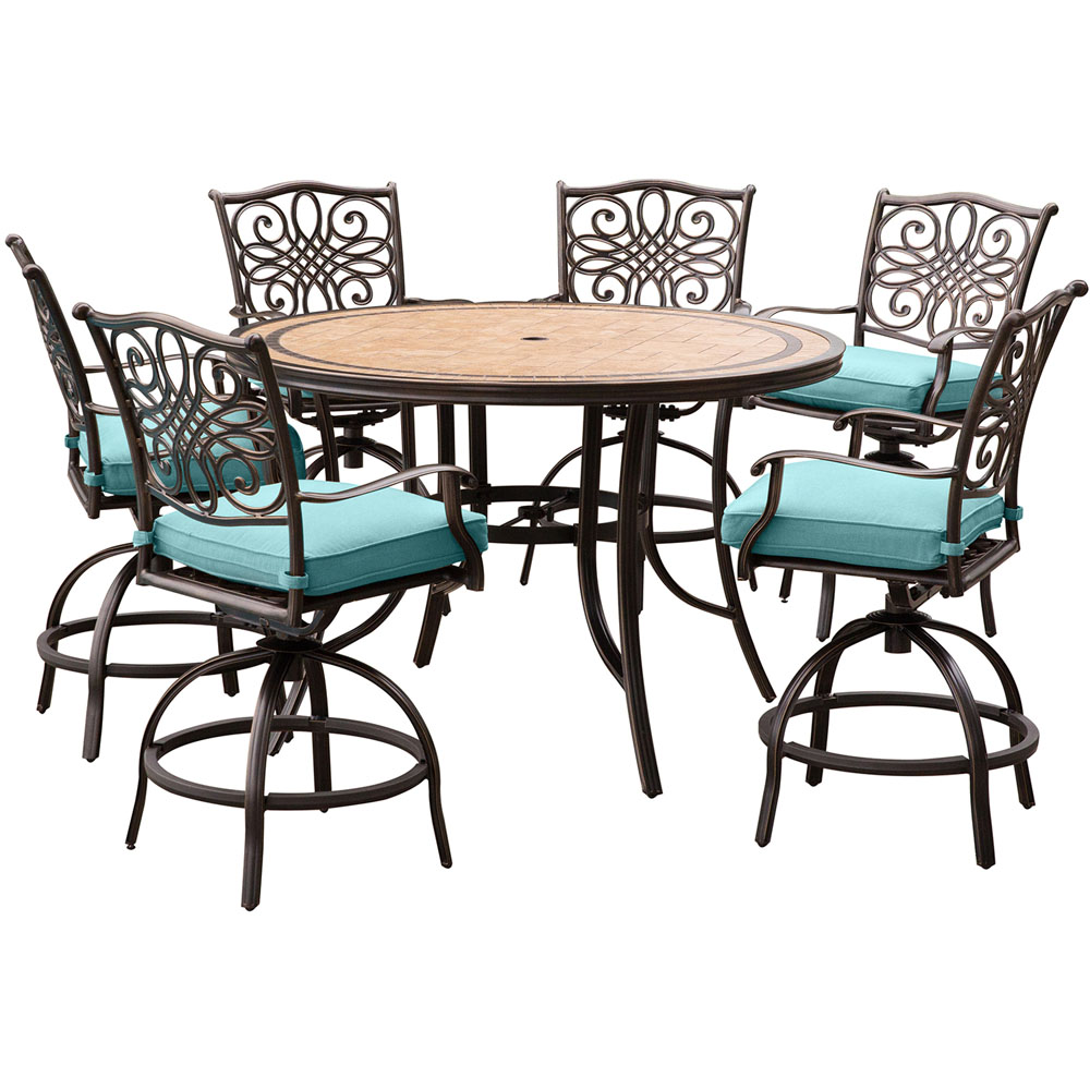 High Top Dining Table Set: Hanover Monaco 7-Piece High-Dining Set In Blue With A 56