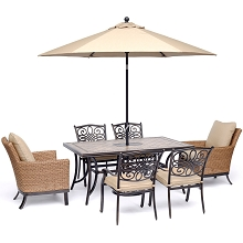 Hanover Monaco 7-Piece Patio Dining Set w/ 2 Woven Armchairs, 4 Cast Dining Chairs, 40