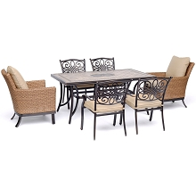 Hanover Monaco 7-Piece Patio Dining Set with 2 Woven Armchairs, 4 Cast Dining Chairs, and 40