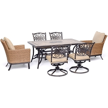 Hanover Monaco 7-Piece Patio Dining Set with 4 Swivel Rockers, 2 Woven Arm Chairs, and a 40