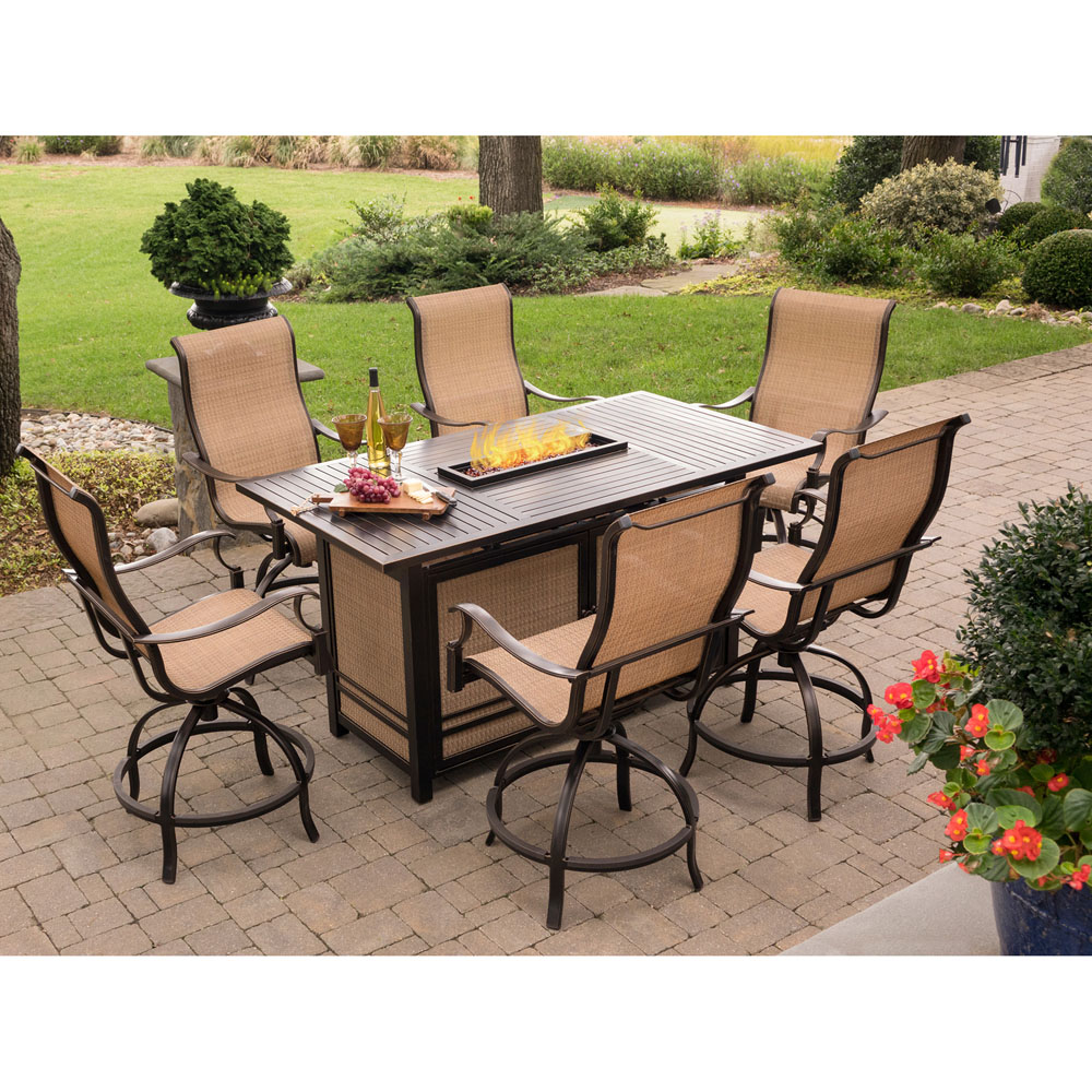 hanover monaco 7 piece high dining set with 6 swivel rockers and a 30 000 btu fire pit table. Black Bedroom Furniture Sets. Home Design Ideas