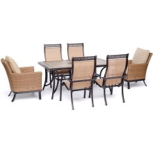 Hanover Monaco 7-Piece Patio Dining Set with 2 Woven Armchairs, 4 PVC Sling Chairs, and 40
