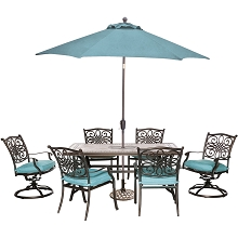 Hanover Monaco 7-Piece Patio Dining Set in Blue with 4 Chairs, 2 Swivel Rockers, 40