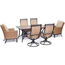 Hanover Monaco 7-Piece Patio Dining Set with 2 Woven Armchairs, 4 Sling Swivel Rockers, and 40