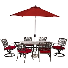 Hanover Monaco 7-Piece Patio Dining Set in Red with 4 Chairs, 2 Swivel Rockers, 40