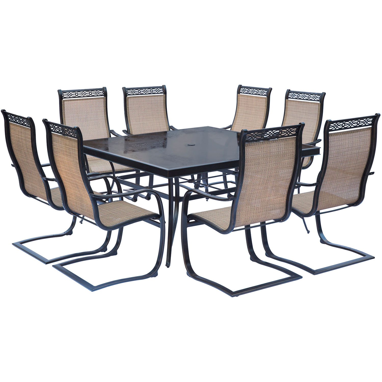 8 Chair Square Dining Table: Monaco 9PC Dining Set With 8 C-Spring Chairs And A 60 In
