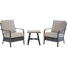 Hanover Oakmont 3-Piece Commercial-Grade Patio Set with 2 Aluminum/Woven Club Chairs and 22