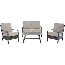 Hanover Oakmont 4-Piece Commercial-Grade Patio Set with 2 Aluminum/Woven Club Chairs, Loveseat, and Slat-Top Coffee Table, OAKMONT4PCL-ASH