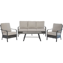 Hanover Oakmont 4-Piece Commercial-Grade Patio Set with 2 Aluminum/Woven Club Chairs, Sofa, and Slat-Top Coffee Table, OAKMONT4PCS-ASH