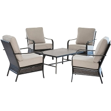 Hanover Oakmont 5-Piece Commercial-Grade Patio Set with 4 Aluminum/Woven Club Chairs and Slat-Top Coffee Table, OAKMONT5PCCT-ASH