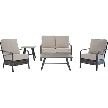 Hanover Oakmont 5-Piece Commercial-Grade Patio Set with 2 Aluminum/Woven Club Chairs, Loveseat, Slat Coffee Table and Slat Side Table, OAKMONT5PCL-ASH