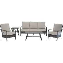 Hanover Oakmont 5-Piece Commercial-Grade Patio Set with 2 Aluminum/Woven Club Chairs, Sofa, Slat Coffee Table and 22