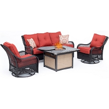 Hanover Orleans 4-Piece Woven Lounge Set in Autumn Berry with 2 Woven Swivel Gliders, Sofa, and 40,000 BTU Cast-Top Fire Pit Table, ORL4PCCFPSW2-BRY