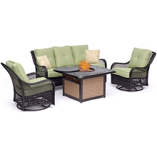 Hanover Orleans 4-Piece Woven Lounge Set in Avocado Green with 2 Woven Swivel Gliders, Sofa, and 40,000 BTU Cast-Top Fire Pit Table, ORL4PCCFPSW2-GRN