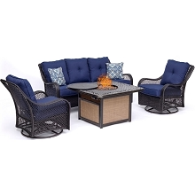 Hanover Orleans 4-Piece Woven Lounge Set in Navy Blue with 2 Woven Swivel Gliders, Sofa, and 40,000 BTU Cast-Top Fire Pit Table, ORL4PCCFPSW2-NVY