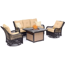 Hanover Orleans 4-Piece Woven Lounge Set in Sahara Sand with 2 Woven Swivel Gliders, Sofa, and 40,000 BTU Cast-Top Fire Pit Table, ORL4PCCFPSW2-TAN