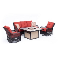 Hanover Orleans 4-Piece Woven Lounge Set in Autumn Berry with 2 Woven Swivel Gliders, Sofa, and 40,000 BTU Tile-Top Fire Pit Table, ORL4PCTFPSW2-BRY