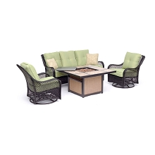Hanover Orleans 4-Piece Woven Lounge Set in Avocado Green with 2 Woven Swivel Gliders, Sofa, and 40,000 BTU Tile-Top Fire Pit Table, ORL4PCTFPSW2-GRN