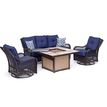 Hanover Orleans 4-Piece Woven Lounge Set in Navy Blue with 2 Woven Swivel Gliders, Sofa, and 40,000 BTU Tile-Top Fire Pit Table, ORL4PCTFPSW2-NVY
