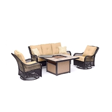 Hanover Orleans 4-Piece Woven Lounge Set in Sahara Sand with 2 Woven Swivel Gliders, Sofa, and 40,000 BTU Tile-Top Fire Pit Table, ORL4PCTFPSW2-TAN
