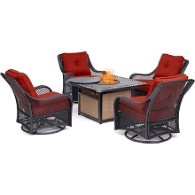 Hanover Orleans 5-Piece Fire Pit Chat Set with a 40,000 BTU Fire Pit Table and 4 Woven Swivel Gliders in Autumn Berry, ORL5PCCFPSW4-BRY