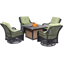 Hanover Orleans 5-Piece Fire Pit Chat Set with a 40,000 BTU Fire Pit Table and 4 Woven Swivel Gliders in Avocado Green, ORL5PCCFPSW4-GRN