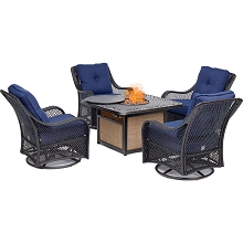 Hanover Orleans 5-Piece Fire Pit Chat Set with a 40,000 BTU Fire Pit Table and 4 Woven Swivel Gliders in Navy Blue, ORL5PCCFPSW4-NVY