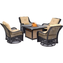 Hanover Orleans 5-Piece Fire Pit Chat Set with a 40,000 BTU Fire Pit Table and 4 Woven Swivel Gliders in Sahara Sand, ORL5PCCFPSW4-TAN