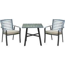 Hanover Pemberton 3-Piece Commercial-Grade Bistro Set with 2 Cushioned Dining Chairs and a 30