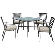 Hanover Pemberton 5-Piece Commercial-Grade Patio Set with 4 Cushioned Dining Chairs and a 38