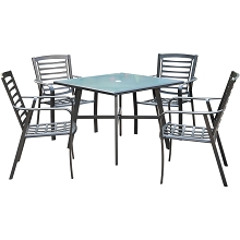 Hanover Pemberton 5-Piece Commercial-Grade Patio Dining Set with 4 Stackable Dining Chairs and a 38