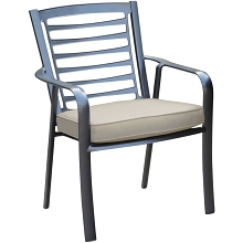 Hanover Pemberton Commercial-Grade Aluminum Dining Chair with Sunbrella Seat Cushion, PEMDNCHR-1GMASH