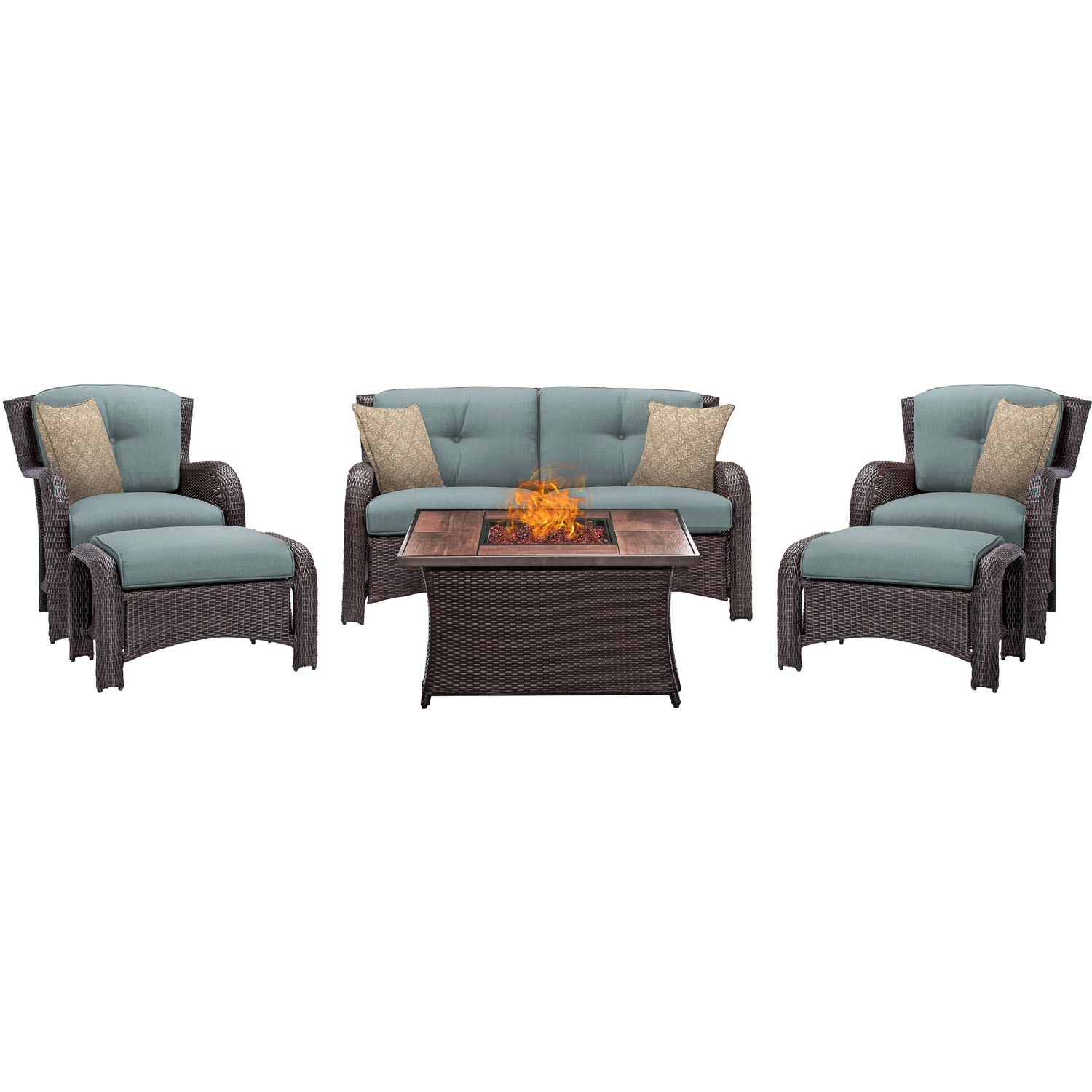 Astonishing Strathmere 6Pc Lounge Set In Ocean Blue With Wood Grain Tile Top Fire Pit Table Strath6Pcfp Blu Wg Squirreltailoven Fun Painted Chair Ideas Images Squirreltailovenorg