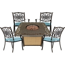Hanover Traditions 5-Piece Patio Fire Pit Chat Set with 4 Cushioned Chairs and a 30,000 BTU Cast-Top Propane Fire Pit Table, TRAD5PCCFP-BLU
