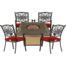 Hanover Traditions 5-Piece Patio Fire Pit Chat Set with 4 Cushioned Chairs and a 30,000 BTU Cast-Top Propane Fire Pit Table, TRAD5PCCFP-RED