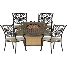 Hanover Traditions 5-Piece Patio Fire Pit Chat Set with 4 Cushioned Dining Chairs and a 30,000 BTU Cast-Top Propane Fire Pit Table, TRAD5PCCFP-TAN
