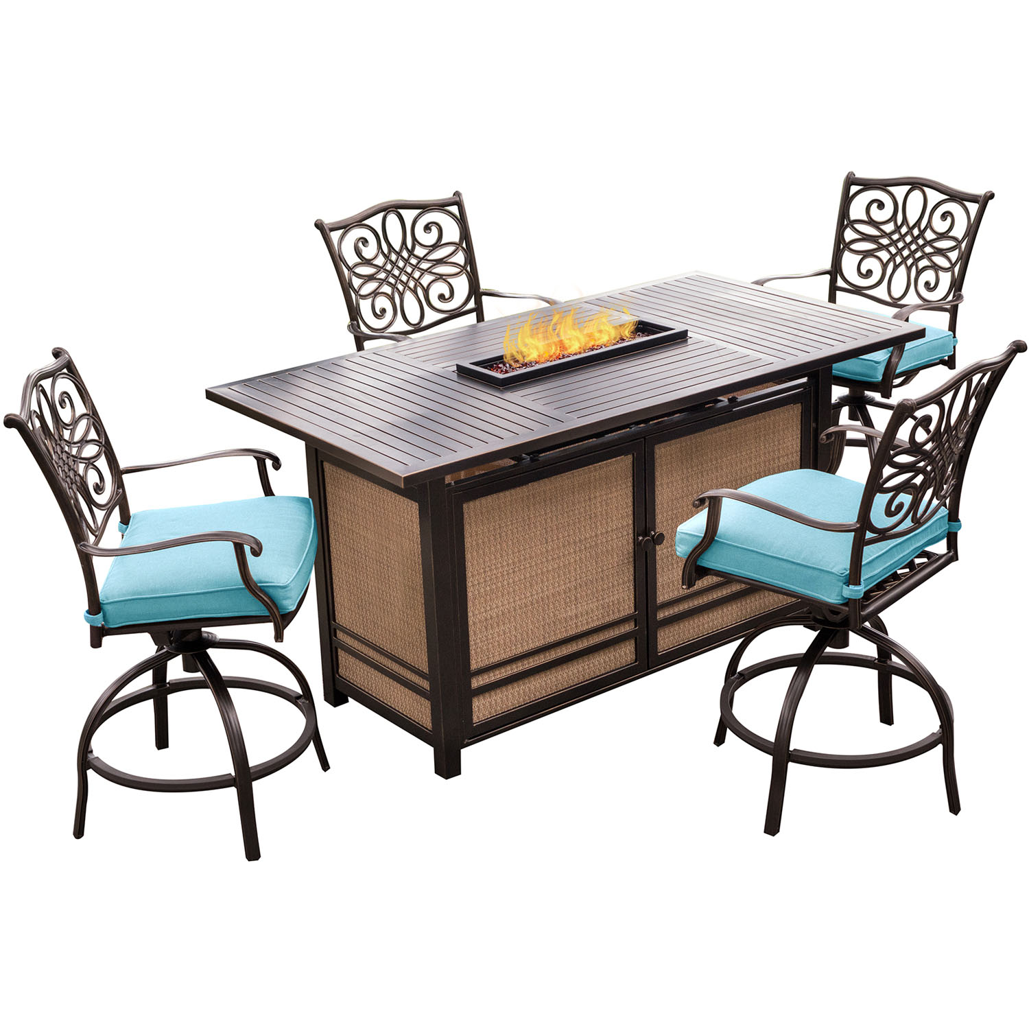 Hanover Traditions 5 Piece High Dining Set In Blue With 4