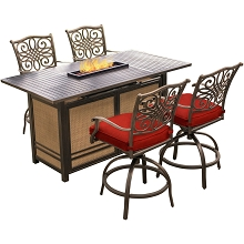 Hanover Traditions 5-Piece High-Dining Set in Red with 4 Tall Swivel Chairs and a 30,000 BTU Fire Pit Dining Table, TRAD5PCFPBR-RED