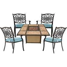 Hanover Traditions 5-Piece Patio Fire Pit Chat Set with 4 Cushioned Chairs and a 40,000 BTU Tile-Top Propane Fire Pit Table, TRAD5PCTFP-BLU