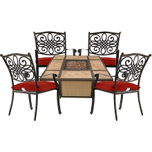 Hanover Traditions 5-Piece Patio Fire Pit Chat Set with 4 Cushioned Chairs and a 40,000 BTU Tile-Top Propane Fire Pit Table, TRAD5PCTFP-RED