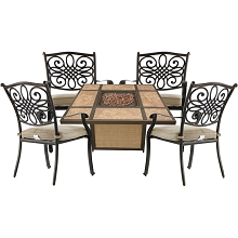Hanover Traditions 5-Piece Patio Fire Pit Chat Set with 4 Cushioned Chairs and a 40,000 BTU TileTop Propane Fire Pit Table, TRAD5PCTFP-TAN