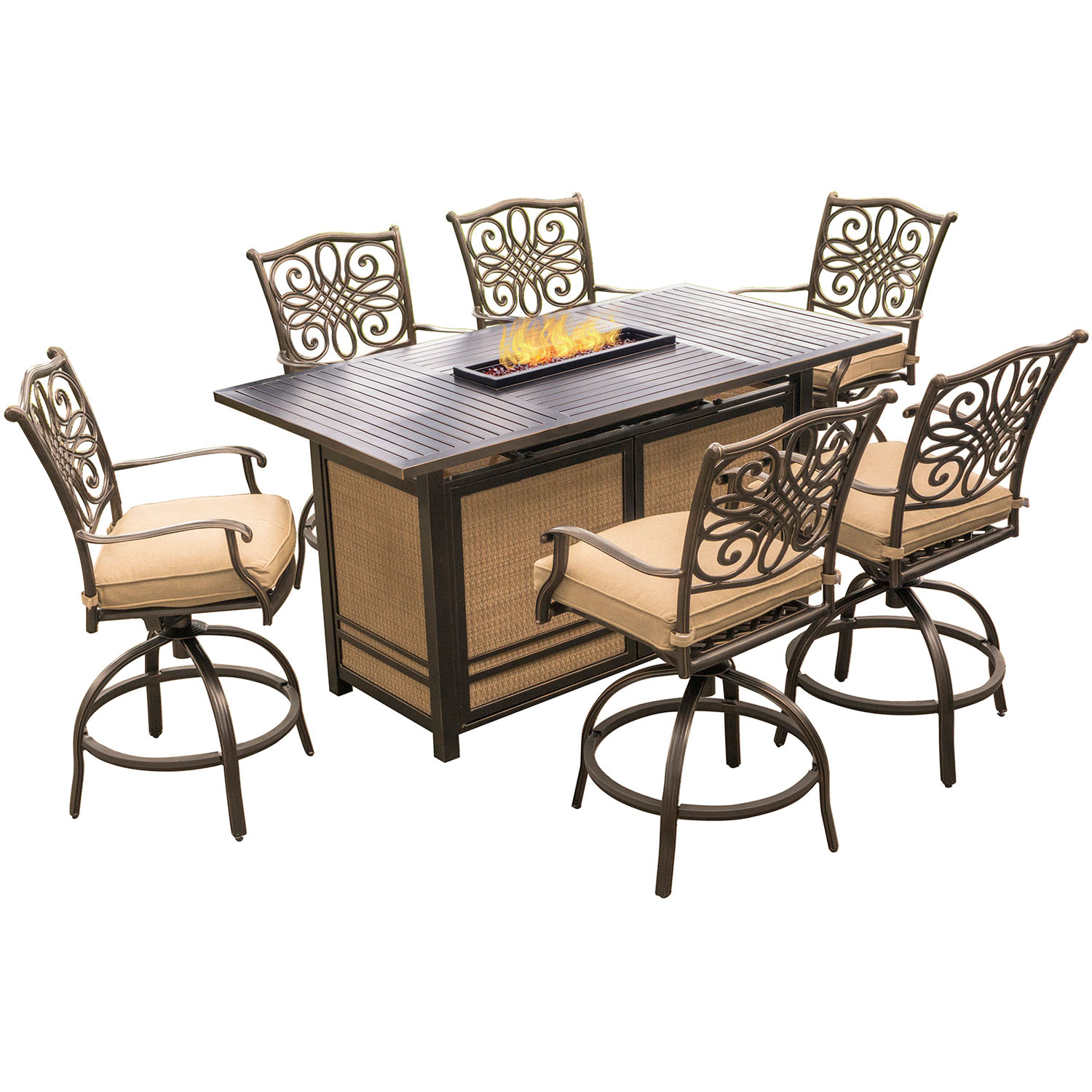 hanover traditions 7 piece high dining set in tan with 30 000 btu fire pit table trad7pcfpbr. Black Bedroom Furniture Sets. Home Design Ideas